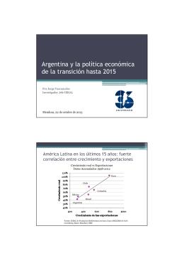 Argentina y la política económica de la transición hasta 2015