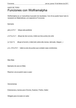 Funciones con Wolframalpha