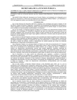 Acuerdo por el que se expide el Manual Administrativo de Aplicaci n General en Materi de Tecnolog as de la Informaci n y Comunicaciones.
