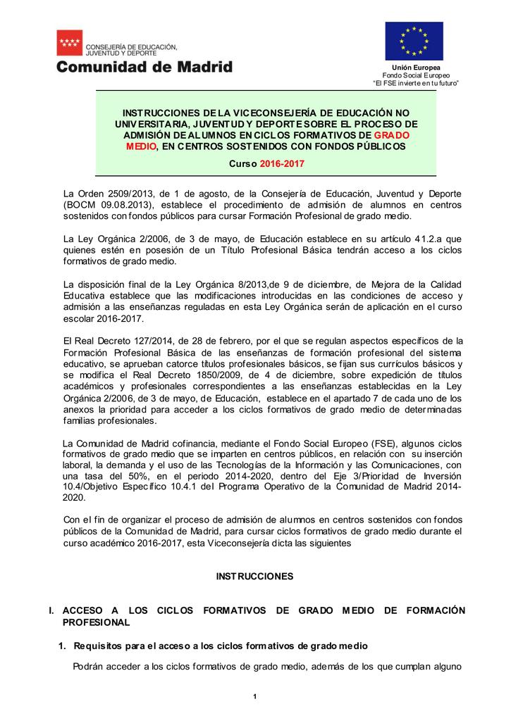 Inst Rucciones De La Viceconsejería De Educación No