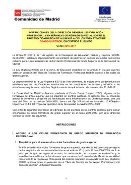 INST RUCCIONES DE LA DIRECCIÓN GENERAL DE FORMACIÓN