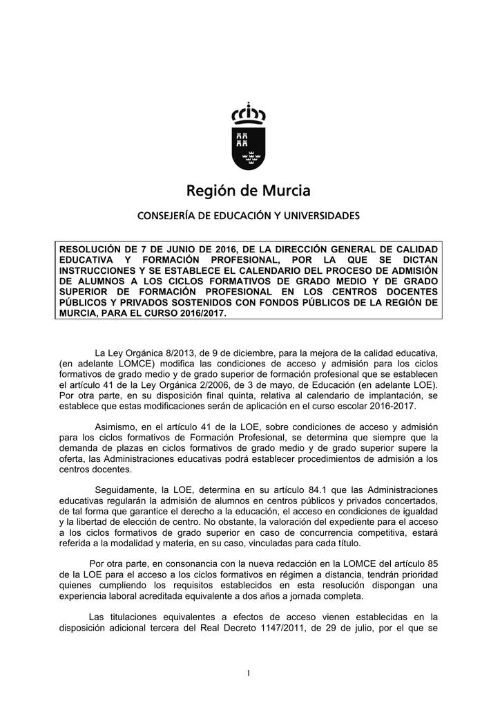Región De Murcia Consejería De Educación Y