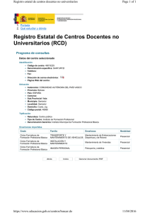 Registro Estatal de Centros Docentes no Universitarios (RCD) Page 1 of 1