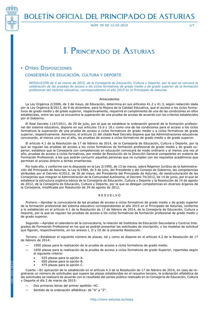 I Principado De Asturias Boletín Oficial Del Principado De