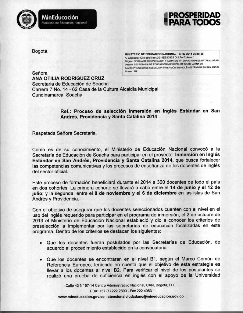 I PROSPERIDAD II PARA TODOS MinEducación Bogotá,