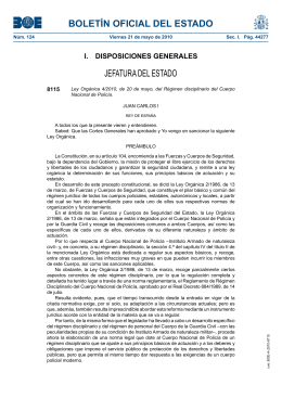Ley Orgánica 4/2010, de 20 de mayo, del Régimen disciplinario del Cuerpo Nacional de Policía.