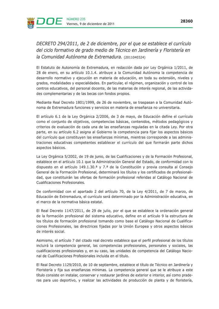 Decreto 294 2011 De 2 De Diciembre Por El Que Se Establece