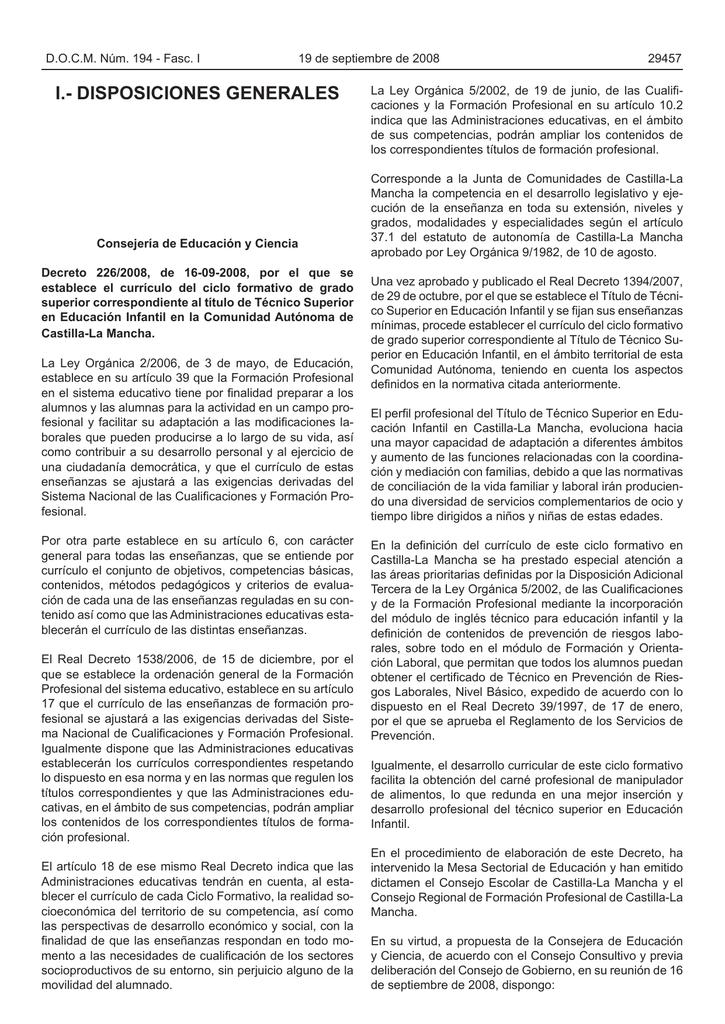 I Disposiciones Generales