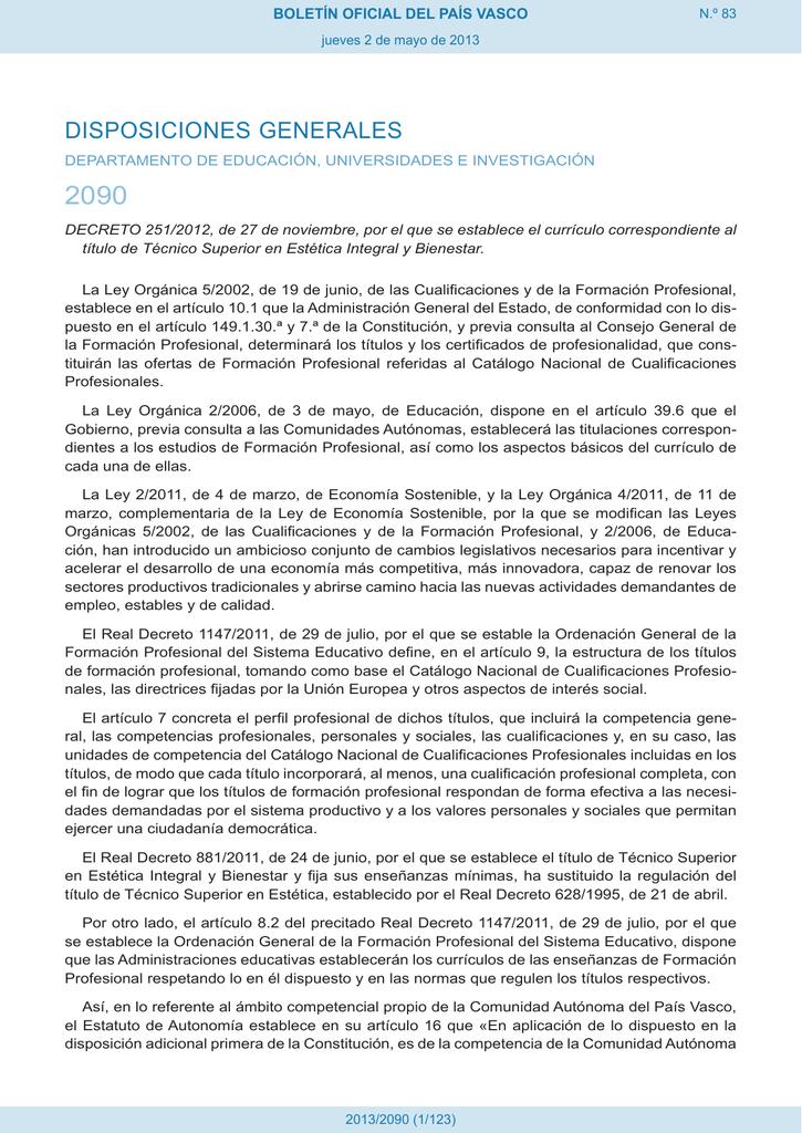 2090 Disposiciones Generales Boletín Oficial Del País Vasco
