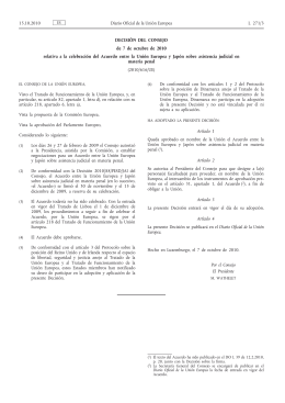 151010 decisión UE Japon asist judicial