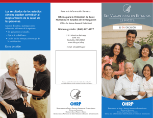 OHRP Brochure: Becoming a Research Volunteer: It s Your Decision (Spanish)