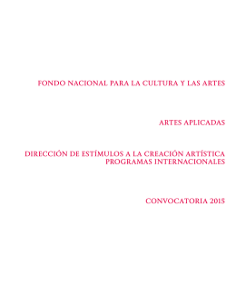 FONDO NACIONAL PARA LA CULTURA Y LAS ARTES ARTES APLICADAS