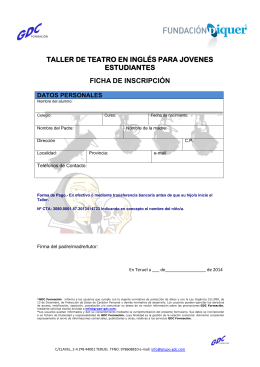 FICHA INSCRIPCION TALLER DE TEATRO EN INGLES 2014