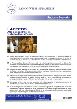 LACTEOS Alta concentración y oferta diversificada