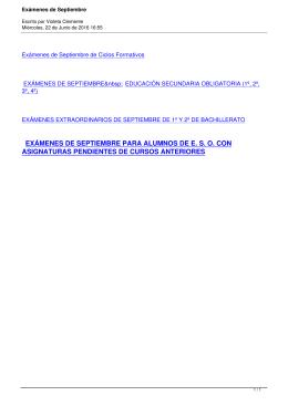 Exámenes de Septiembre de Ciclos Formativos