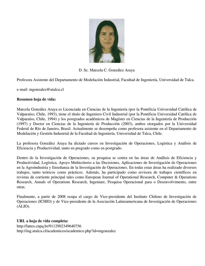 D. Sc. Marcela C. González Araya Profesora Asistente del ...