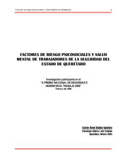Factores de Riesgo Psicosociales y Salud Mental en Trabajadores de la Seguridad en el Estado de Queretaro (pdf)