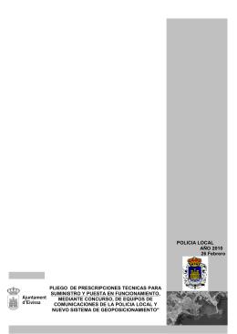 POLICIA LOCAL AÑO 2010 26 Febrero PLIEGO  DE PRESCRIPCIONES TECNICAS PARA