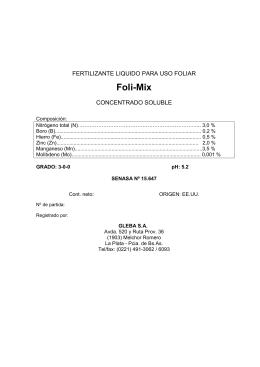 Foli-Mix FERTILIZANTE LIQUIDO PARA USO FOLIAR  CONCENTRADO SOLUBLE