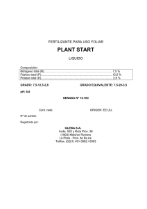 PLANT START FERTILIZANTE PARA USO FOLIAR  LIQUIDO
