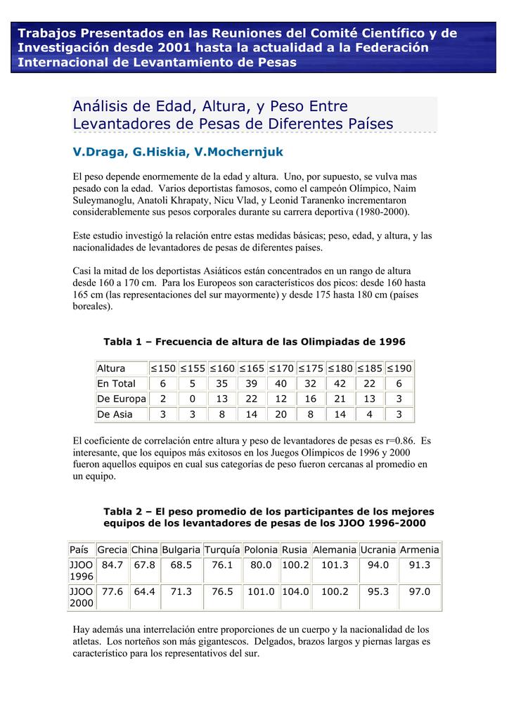 Peso edad estatura y tabla de