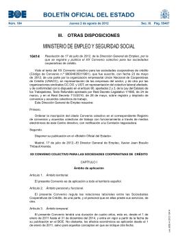 BOLETÍN OFICIAL DEL ESTADO MINISTERIO DE EMPLEO Y SEGURIDAD SOCIAL 10414
