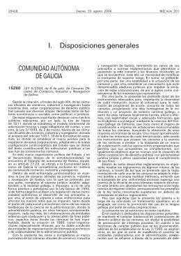 I. Disposiciones generales COMUNIDAD AUTÓNOMA