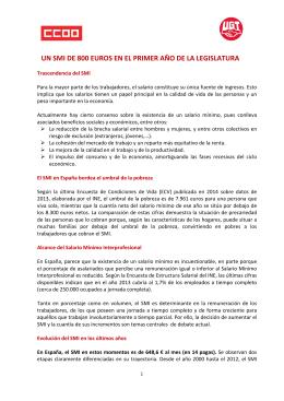 Propuesta de UGT y CCOO para actualizar el SMI