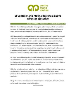 El Centro Mario Molina designa a nuevo Director Ejecutivo
