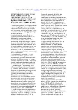 decreto 21/2005 de enero de este año relativo a la prevención de incendios y regulación de aprovechamientos forestales
