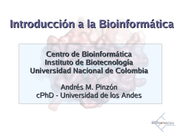 Introduccion a la bioinfo.
