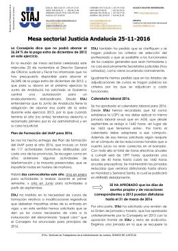 21-11-2015 Boletín informativo mesa sectorial Andalucía