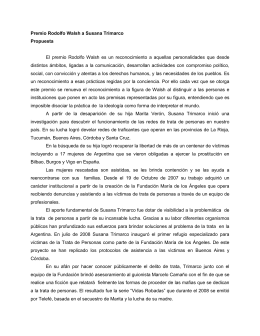 Fundamentación de la entrega del Premio Rodolfo Walsh a Susana Trimarco