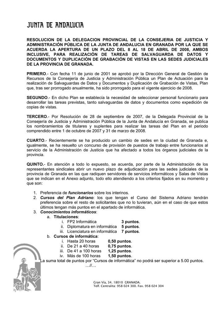 Consejería De Justicia Y Administración Pública Delegación Provincial De Granada
