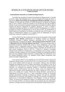 Memoria de Actividades del Departamento de Historia 2014-2015