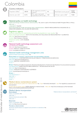 Colombia Country indicators National policy on health technology