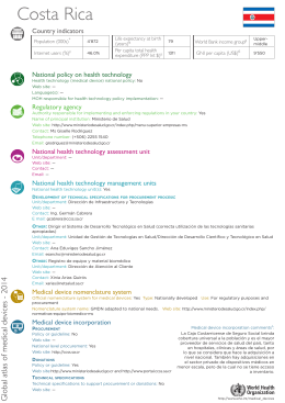 Costa Rica Country indicators National policy on health technology