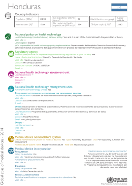 Honduras Country indicators National policy on health technology
