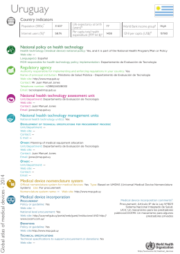 Uruguay Country indicators National policy on health technology