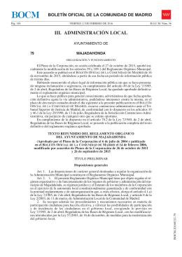Reglamento Orgánico del Ayuntamiento de Majadahonda