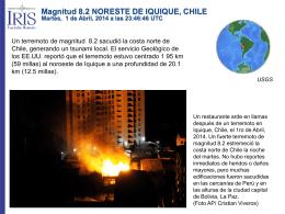 Magnitud 8.2 NORESTE DE IQUIQUE, CHILE