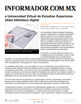INFORMADOR la universidad virtual de estudios superiores alista biblioteca digital