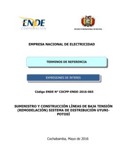 EMPRESA NACIONAL DE ELECTRICIDAD SUMINISTRO Y CONSTRUCCIÓN LÍNEAS DE BAJA TENSIÓN