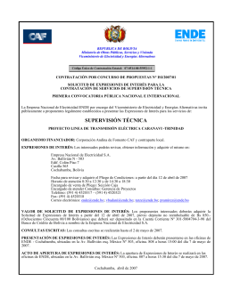 Convocatoria supervision tecnica