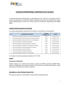 Convocatoria interna corporativa n° 02-2014