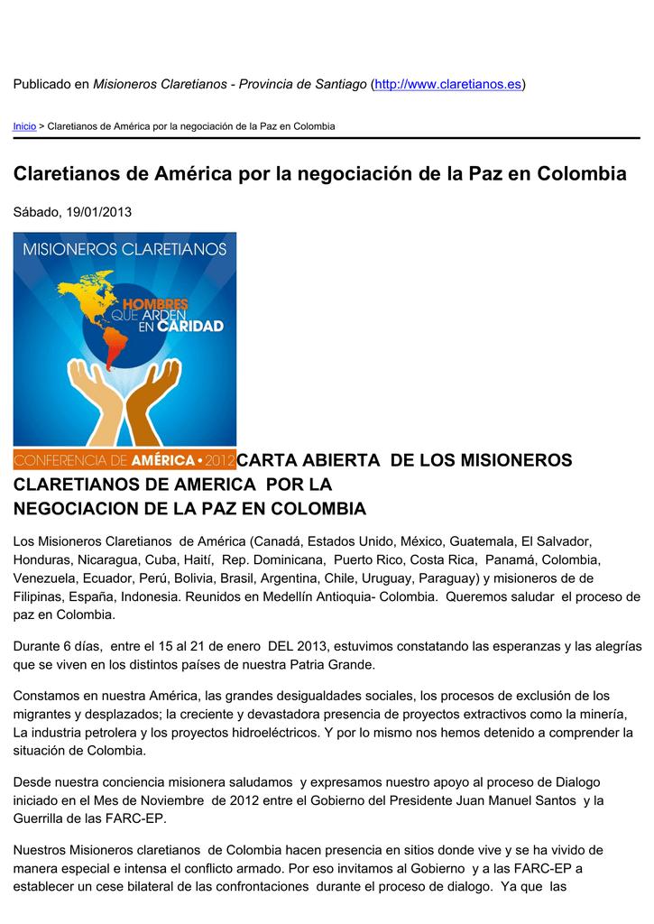 Claretianos de América por la negociación de la Paz en