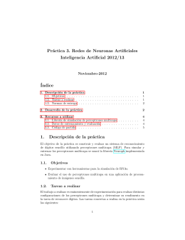 Pr´ actica 3. Redes de Neuronas Artificiales Inteligencia Artificial 2012/13 ´