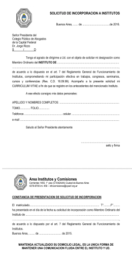 SOLICITUD DE INCORPORACION A INSTITUTOS