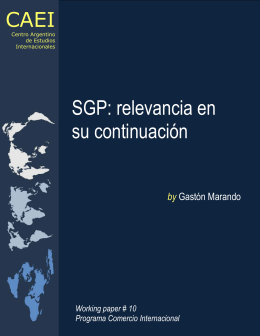 SGP: relevancia en su continuación CAEI by