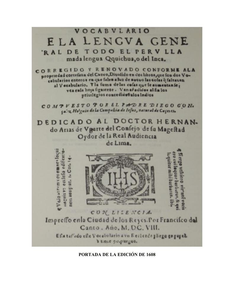 PORTADA DE LA EDICIÓN DE 1608